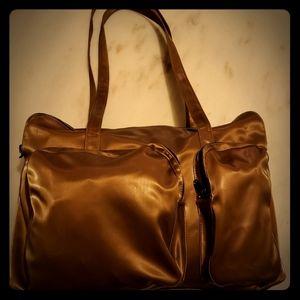 90's vintage Nicole Miller gold weekender bag